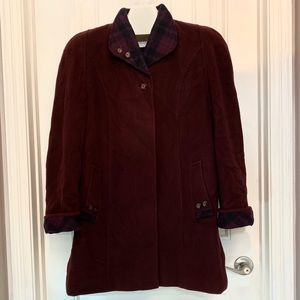 Virgin Wool & Cashmere Burgundy Coat Made in Italy